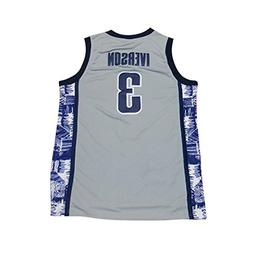 NEW 3 Iverson Mens College Basketball Jerseys Gray XL