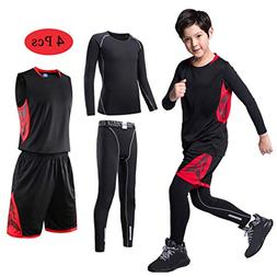 TERODACO Boys Girls Athletic 2/3/4 Pcs Compression Baselayer