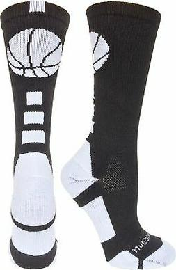 MadSportsStuff Basketball Logo Athletic Crew Socks, Large -