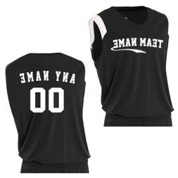 A4 Sportswear Black/White Adult Large Custom  V-Neck Muscle