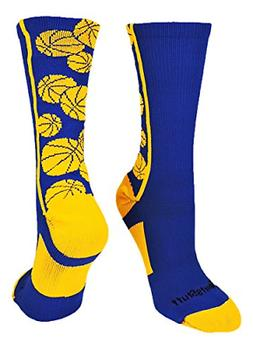 MadSportsStuff Crazy Basketball Logo Crew Socks Royal/Gold,