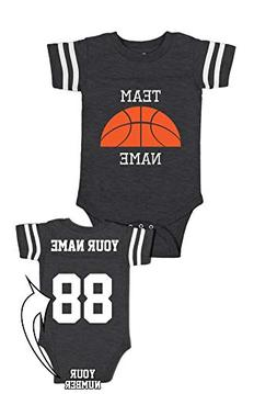 Custom Cotton Add Your Name Number Baby Onesies -Basketball