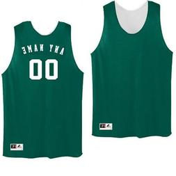 Dark Green/White Adult XL Customized  Basketball Reversible