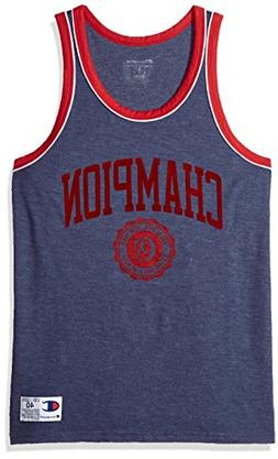Champion Men's Heritage Tank, Imperial Indigo Heather/fire R