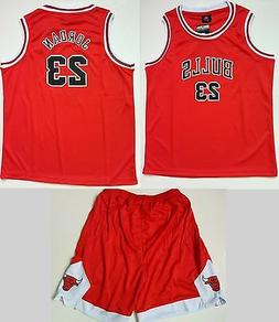 Kid Basketball Jersey Short Set - Red #23 Michael Jordan Chi