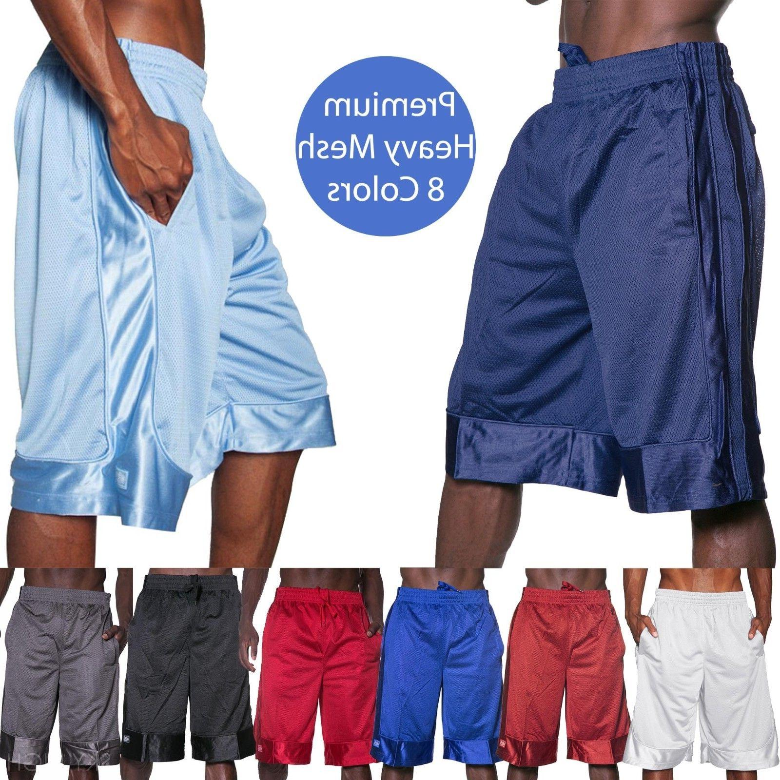 Mens HEAVY MESH SHORTS Basketball Pants Gym Premium Pockets