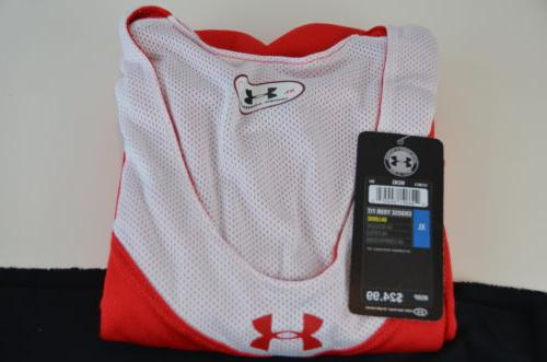 Under Armour Basketball Jersey Red White Men XL NEW!