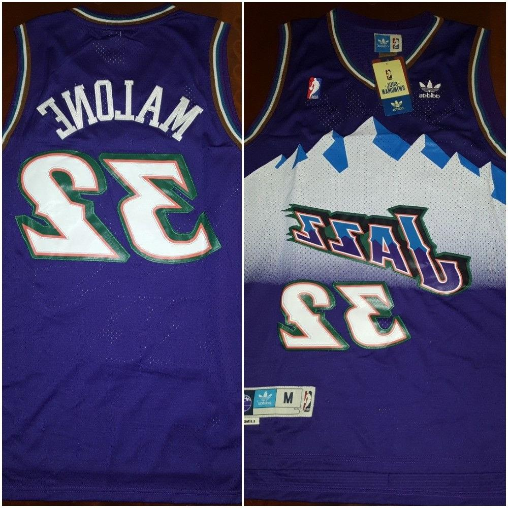 sale retailer 39566 5b8a9 Retro Utah Jazz Karl Malone #32 Purple Throwback Basketball Jersey Mens  MEDIUM