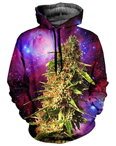 your love weed leaf galaxy space sweatshirts
