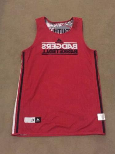 youth wisconson badgers red camo basketball jersey