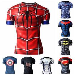 Mens 3D Print Sports T shirt Marvel Superhero Slim Fit Baske