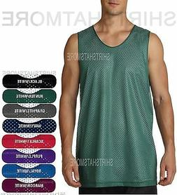 Mens Mesh Reversible Tank Wicking Basketball Sports Gym Jers