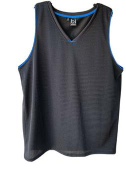 Ideology Mesh Jersey Tank Top Contrast Trim Solid Black Colo
