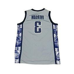 NEW 3 Iverson Mens College Basketball Jerseys Gray X-Large N