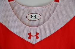 Under Armour Reversible Basketball Jersey Red White Mesh Men