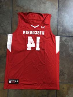 NWT Under Armour Wisconsin Badgers Basketball Jersey Mens La