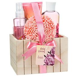 Bath Gift Set for Women Pink Beauty Spa Basket Floral Peony
