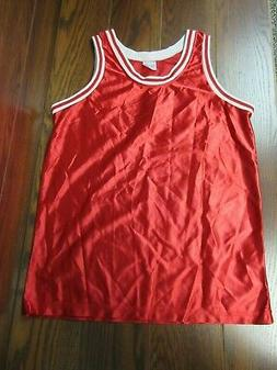 VINTAGE 80s TEAMWORK shiny red basketball tank jersey shirt