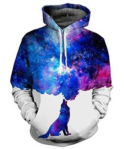 9Yourtime Wolf Space Galaxy Print Hoodies Pullover Hip Hop S