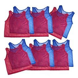 Adorox 12 Pack Youth Scrimmage Team Practice Nylon Mesh Jers